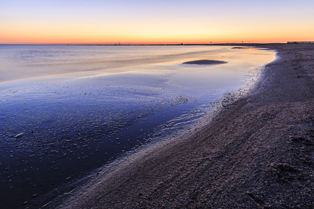 caspian: Coast beach in the Caspian Sea near Baku at sunrise.Azerbaijan