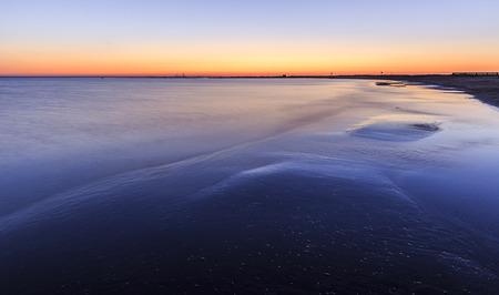 baku: Coast beach in the Caspian Sea near Baku at sunrise.Azerbaijan