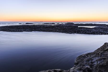 caspian: Rocks on the coast of the Caspian Sea near Baku.Azerbaijan Stock Photo