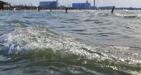caspian: The crest of the waves on the beach of the Caspian Sea near Baku Stock Photo