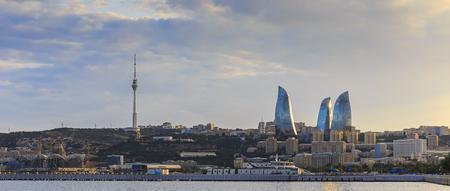 baku: Panorama Baku boulevard at sunset Stock Photo
