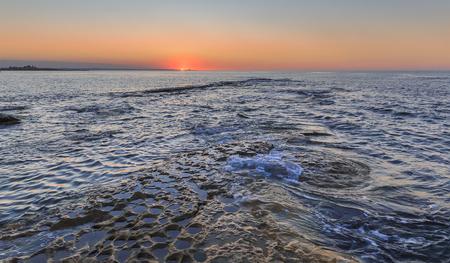 caspian: Sunset on the coast of the Caspian Sea near Baku.Azerbaijan Stock Photo