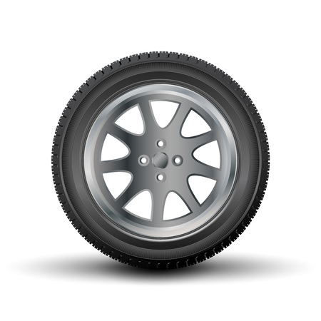 car tire: Car tire with a disk on a white background.Vector