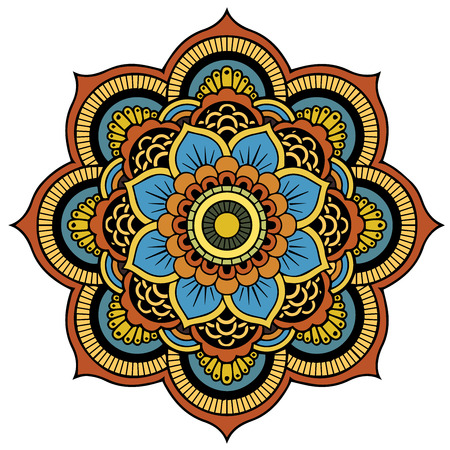 Colored mandala on the white background.Vector