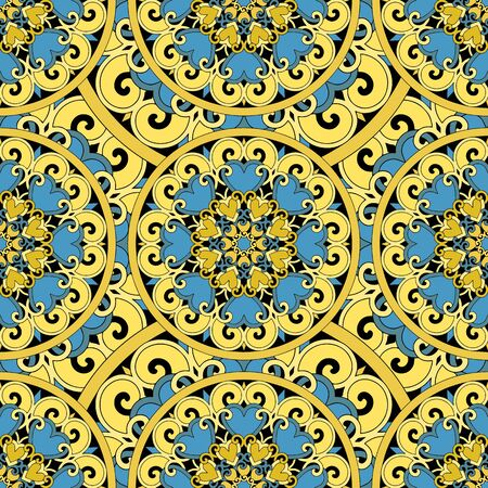 retro floral: Seamless repeating pattern consisting of colored mandal.Vector