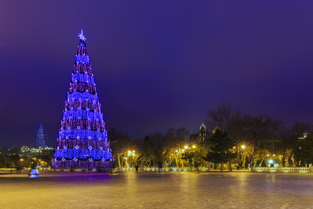 Christmas tree on the boulevard in Baku.Azerbaijan