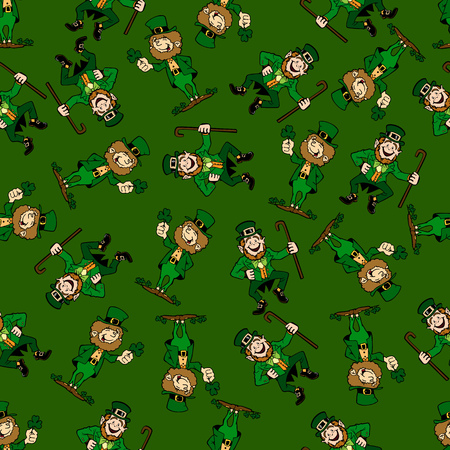 seamless clover: Seamless repeating pattern with dancing by Saint Patrick.Vector