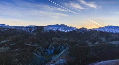 bumpy: Red bumpy mountain at sunset in winter evening.Khizi.Azerbaijan