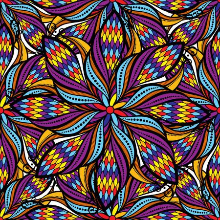 vintage: Seamless vector vintage hand drawn mandala pattern.Vector Illustration