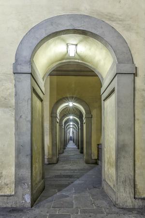 Vasari corridor in Florence.Italy 免版税图像