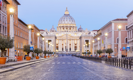 Saint Peters Square and Saint Peters  Cathedral,Vatican City Editorial