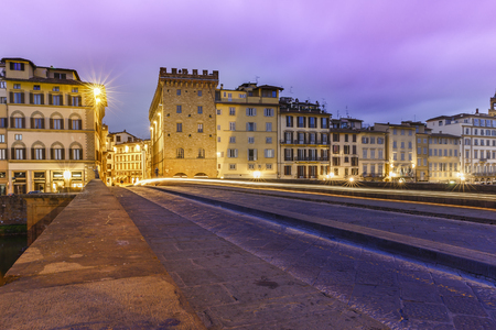 pedestrian bridge: The Santa Trinita Bridge in Florence at sunrise.Italy