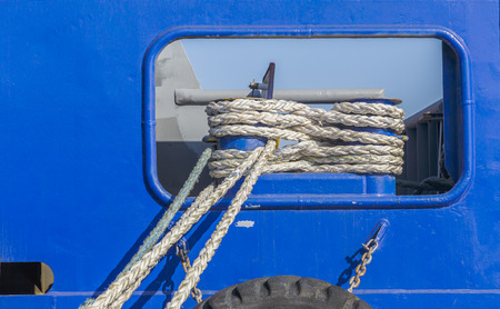 Mooring lines of the ship Stock Photo