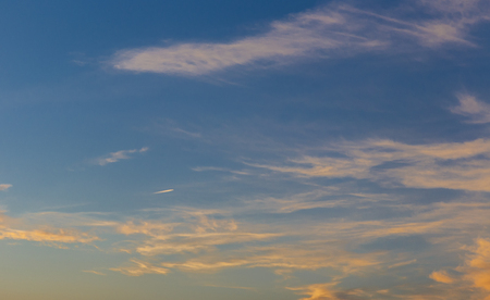 overcast: The sky with clouds at sunset of the day Stock Photo
