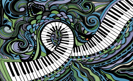 An abstract colored background consisting of a piano key ribbon Vector Illustration