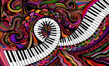 An abstract colored pattern consisting of a piano key ribbon