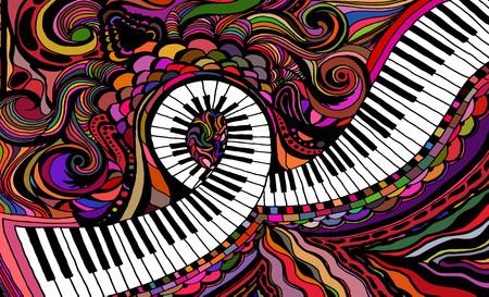 An abstract colored pattern consisting of a piano key ribbon