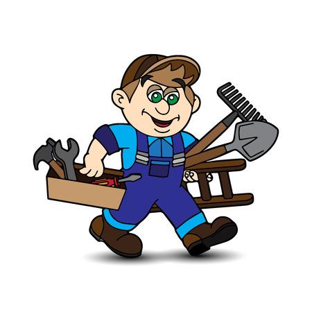 Cartoon worker carrying tools in hands