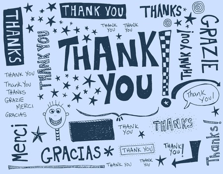 A word of thanks written in different languages Ilustração