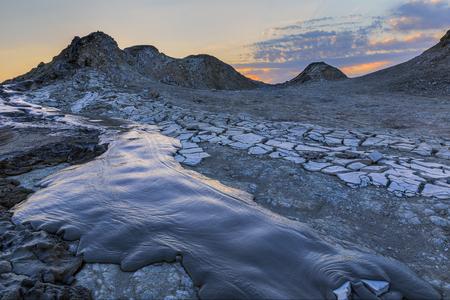 Mud volcanoes in Gobustan.Azerbaijan