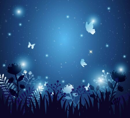 Background with flowers and night