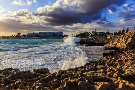 Nissi beach in Ayia Napa in stormy weather Stock Photo