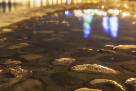 Embankment of the boulevard in Baku after the rain(soft focus) Stok Fotoğraf