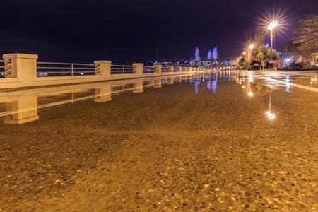 Embankment of the boulevard in Baku after the rain