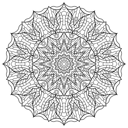 Mandala for coloring book isolated on a plain presentation. Çizim
