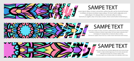 Set of color banners with text and mandala Ilustração