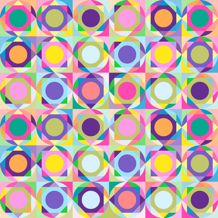 A repeating pattern of colored geometric shapes