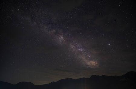 Milky Way and Jupiter over the village of Lagich Reklamní fotografie