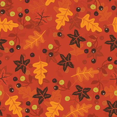 Seamless repeating pattern of leaves and berries