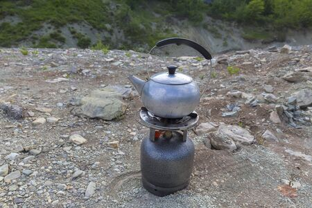 Large hiking stove and hiking aluminum kettle