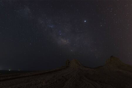 Milky Way over mud volcanoes