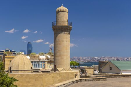 Minaret of a mosque in the old city-fortress in Baku