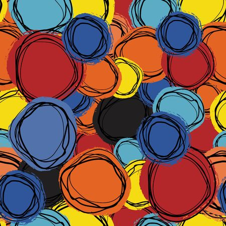 Seamless repeating background of colored circles and spirals