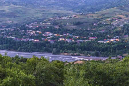 Panorama of the village Lagich at sunrise Banco de Imagens