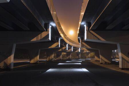 Concrete support of the automobile bridge at sunrise 版權商用圖片