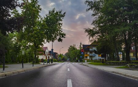 Street in Zakopane at sunrise. While tourists are sleeping.