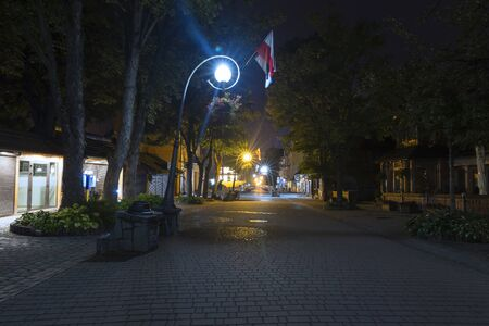 The central street of Krupovka in Zakopane at sunrise. While tourists are sleeping