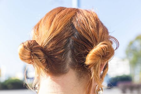 Female hair bundled in the back of the head