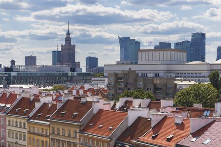Tiled roofs of houses of the old city in Warsaw Stock Photo