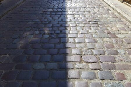 Paving stones laid out in the old town in Warsaw