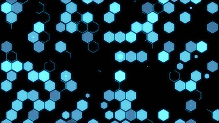 Abstract hexagons background on black 写真素材