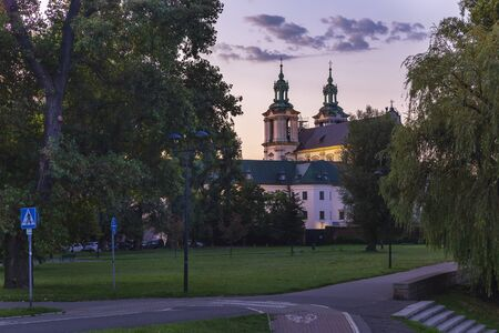 Church on the banks of the Vistula River in Krakow