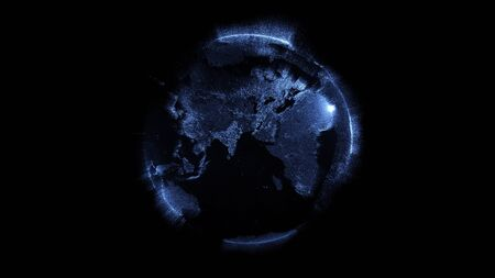 Contours of the earth consisting of particles on a black background