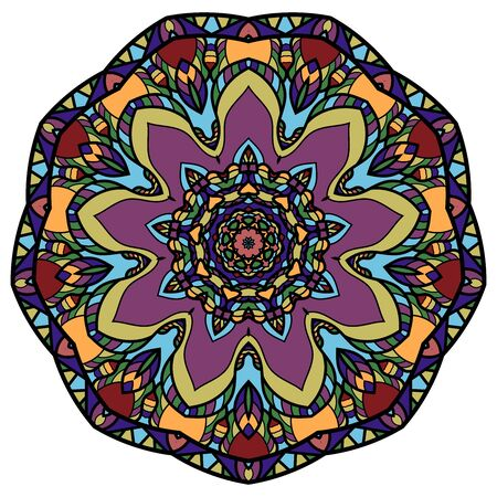 Mandala coloré sur fond blanc