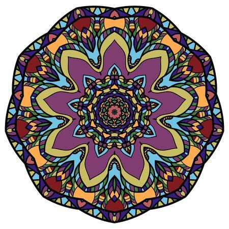 Mandala de colores sobre un fondo blanco.