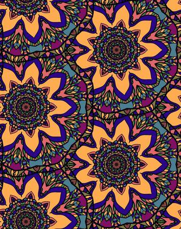 Seamless repeating floral pattern consisting of mandalas